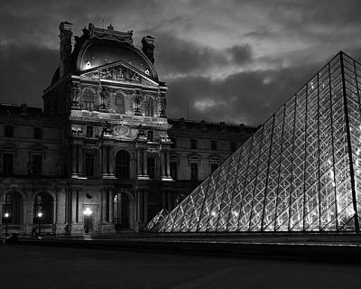 Electric Pyramid, Louvre, Paris, France Art Print