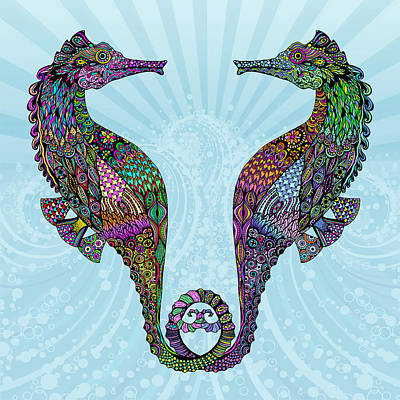 Digital Art - Electric Seahorses by Tammy Wetzel