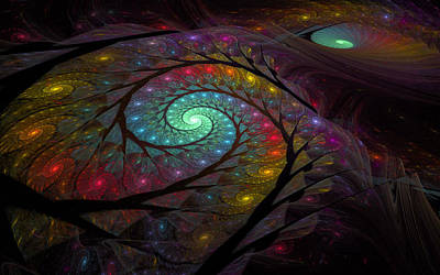 Digital Art - Electric Spirals by GJ Blackman