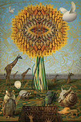 Electric Sunflower Art Print by Bill Jonas