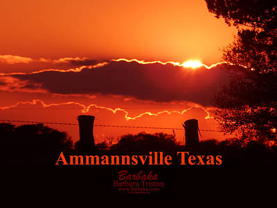 Photograph - Electric Sunset Ammannsville Texas by Barbara Tristan
