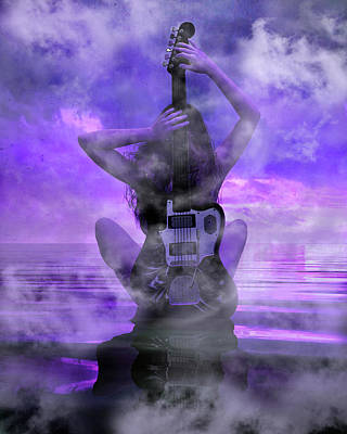 Surrealism Digital Art - Electric Sunset Purple by Betsy Knapp