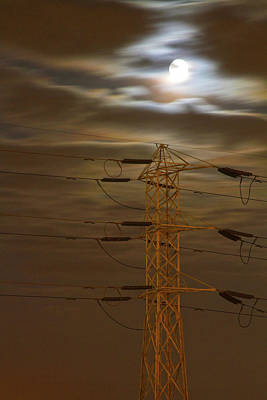 Photograph - Electric Tower Under Supermoon by Ken Wood