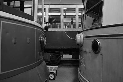 Electric Trains Nose To Nose Bw Art Print
