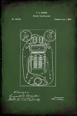 Vote Mixed Media - Electric Vote Recorder Patent Drawing 1a by Brian Reaves