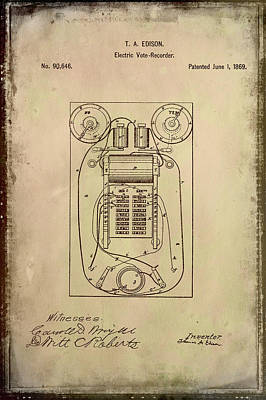 Vote Mixed Media - Electric Vote Recorder Patent Drawing 1b by Brian Reaves