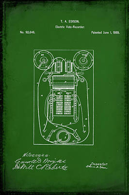 Vote Mixed Media - Electric Vote Recorder Patent Drawing 1e by Brian Reaves