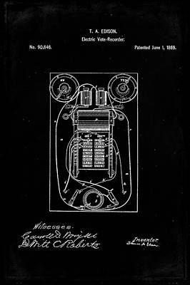 Vote Mixed Media - Electric Vote Recorder Patent Drawing 1f by Brian Reaves