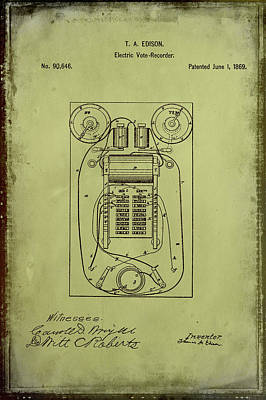 Vote Mixed Media - Electric Vote Recorder Patent Drawing 1g by Brian Reaves