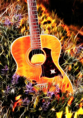 Photograph - Electric Wildflowers And Guitar by Athena Mckinzie