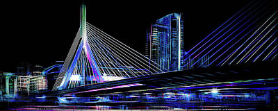 Digital Art - Electric Zakim by Thomas Logan