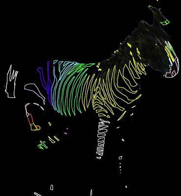 Digital Art - Electric Zebra by Ericamaxine Price