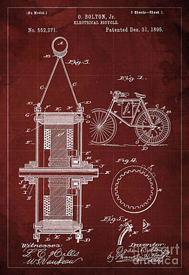 Electrical Bycicle Patent 1895 Art Print