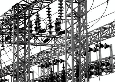 Photograph - Electrical Substation With Large Insulators by Yali Shi
