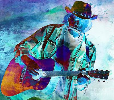 Neil Young Digital Art - Electrified Neil Young Abstract by John Malone