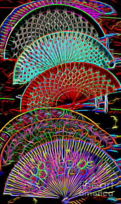 Photograph - Electrified Neon Fans by Sue Melvin