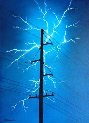 Powerlines Painting - Electrifying by Diane Maslonka