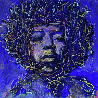 Eduardo Tavares Mixed Media Royalty Free Images - Electrifying Hendrix Royalty-Free Image by Eduardo Tavares