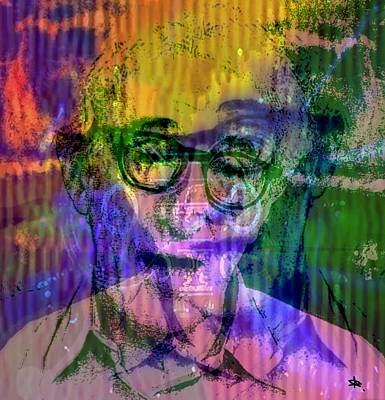 Woody Allen Digital Art - Electro Jazzy Woody Allen by Annick Portal