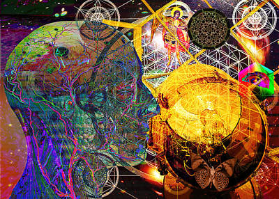 Digital Art - Electromagnetic Lighthouse Thirdeye Portal by Joseph Mosley