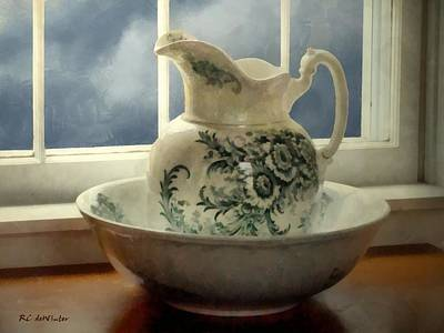 Pottery Pitcher Painting - Elegance In Moonlight by RC deWinter