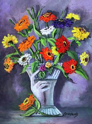 Painting - Elegance Of Zinnias by Randy Burns