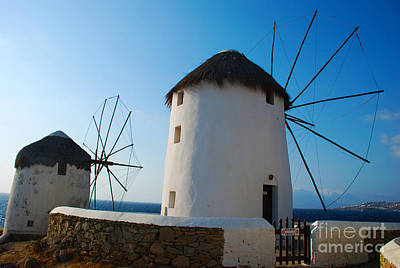 Popstar And Musician Paintings Royalty Free Images - Elegant Aegean Windmills on Mykonos Island Greece Royalty-Free Image by Just Eclectic