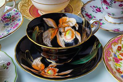 Elegant Black Tea Cup Print by Garry Gay