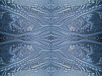 Photograph - Elegant Blues Frosty Window Design by Joy Nichols