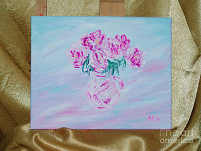 Painting - Elegant Bouguet Of Peonies. Thank You Collection by Oksana Semenchenko