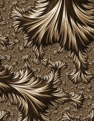 Digital Art - Elegant Brass Filigree Abstract by Georgiana Romanovna