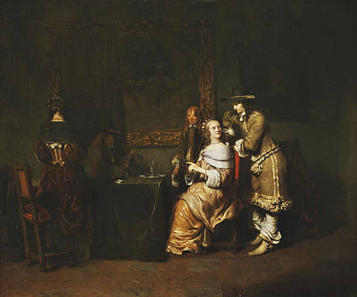 Parlor Painting - Elegant Company Playing Cards In An Interior by Gerbrandt van den Eeckhout