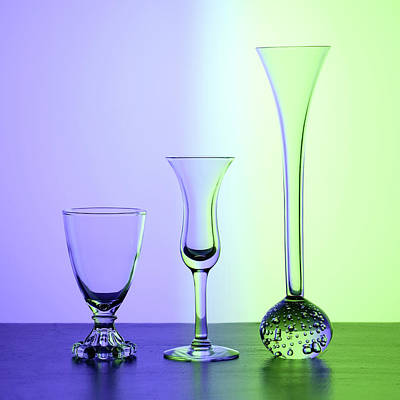 Photograph - Elegant Crystal Glass Curves In Blue And Green by Betty Denise
