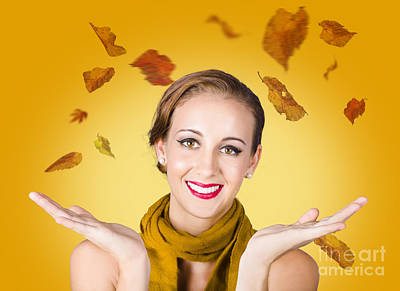 Elegant Female Model Catching Autumn Leaves Art Print