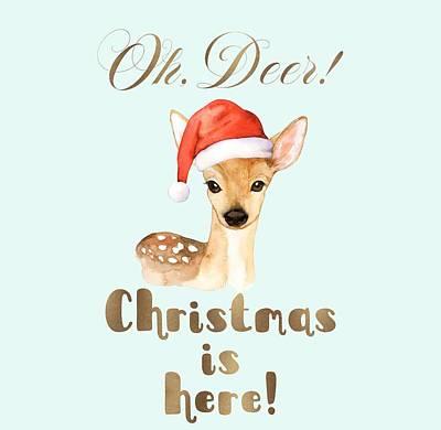 Painting - Elegant Gold Oh Deer Christmas Is Here Deer Santa by Georgeta Blanaru