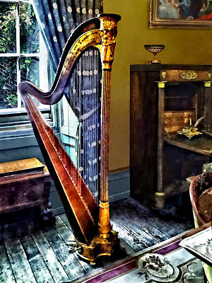 Room Interior Photograph - Elegant Harp by Susan Savad