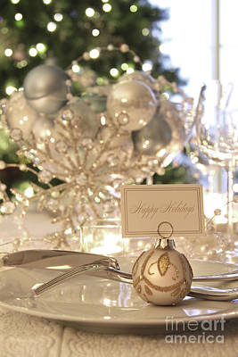 Indoor Photograph - Elegant Holiday Dinner Table With Focus On Place Card by Sandra Cunningham
