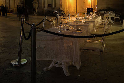 Photograph - Elegant Italian Dining - The Glass Restaurant In Syracuse Sicily by Georgia Mizuleva