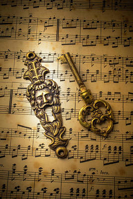 Music Score Photograph - Elegant Keyhole And Sheet Music by Garry Gay