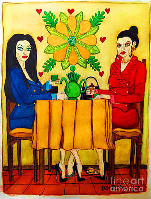 Art Print featuring the painting Elegant Ladies In A Coffee-shop by Don Pedro De Gracia
