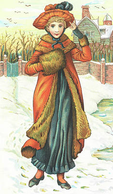 Your Home Drawing - Elegant Lady In Snow, Christmas Card by English School