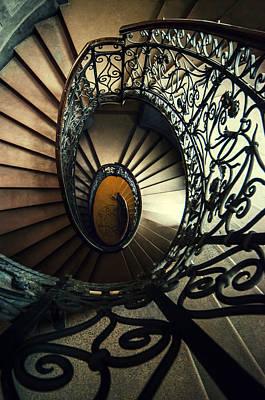 Mystery Door Photograph - Elegant Metal Spiral Staircase by Jaroslaw Blaminsky