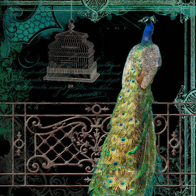 Royal Mixed Media - Elegant Peacock Iron Fence W Vintage Scrolls 4 by Audrey Jeanne Roberts