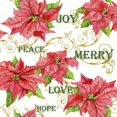 Painting - Elegant Poinsettia Floral Christmas Love Joy Peace Merry Hope Typography Swirl by Audrey Jeanne Roberts