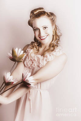 Amour Photograph - Elegant Smiling Vintage Woman Holding Flower Bunch by Jorgo Photography - Wall Art Gallery