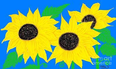Cherry Blossoms Digital Art - Elegant Sunflowers by Nisha Verma