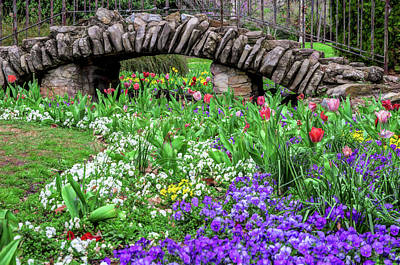 Jeffery Johnson Photograph - Elegant Sunken Garden Stone Bridge Centennial Park Artistic by Photo Captures by Jeffery
