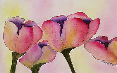 Elegant Tulips  Art Print by Mary Gaines