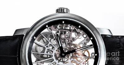 Jewellery Photograph - Elegant Watch With Visible Mechanism, Clockwork Close-up. by Michal Bednarek