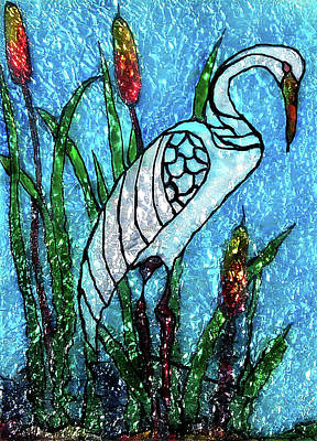 Glass Art - Elegant White Heron by Farah Faizal
